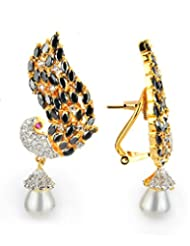 1.1⁰ By Xpressionss Peacock Gold Plated Dangle Earring With Pearl Drops And Zirconia F-XPE0815126