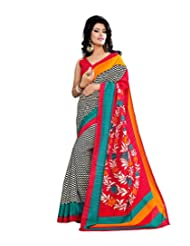 Anu Designer Self Print Saree (6407A_Multi-Coloured)