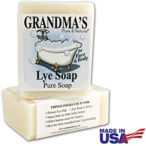 Grandma's Pure Lye Soap For Dry Skin With No Additives 6 oz. bar (Set of 2)