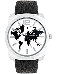 Swisstone GR0018-WHT-BLK White Dial Black Strap Analog Wrist Watch For Men/Boys