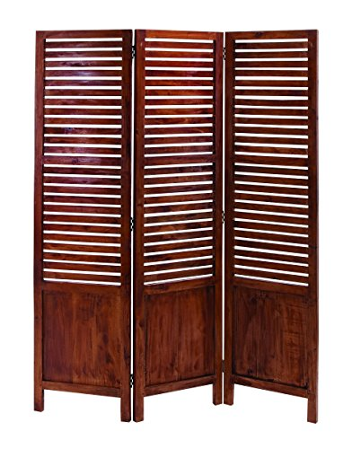 Benzara Traditional Wooden Three Panel Screen with Sophisticated Look (Louvered Folding Screen compare prices)