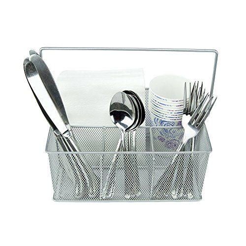 KitchenPlus Condiment and Silverware Caddy, Silver (Tabletop Supply Caddy compare prices)