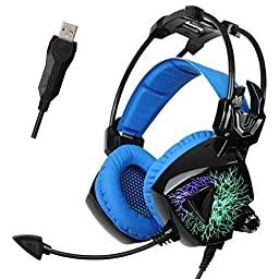 Sades Mo Ling USB Gaming Headset 7.1 Virtual Surround Sound Stereo PC Headphones with Mic (Blue)