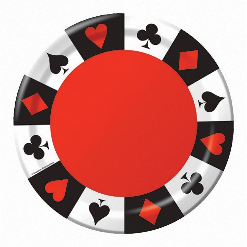 Creative Converting 8 Count Round Dinner Plates, Card Night