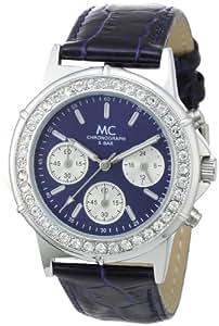 MC - 26463 - Montre Femme - Quartz Chronographe - Chronomètre - Bracelet Cuir Bleu