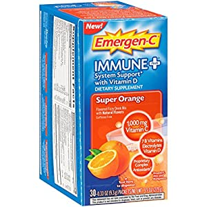Emergen-C Immune+ Dietary Supplement (Super Orange Flavor, 30-Count 0.33 oz. Packets)