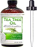 Pure Body Naturals – Tea Tree Essential Oil Pure 4 Oz Premium Melaleuca Therapeutic Grade From Australia, Use With Soap & Shampoo, Face & Body Wash, Treatment for Acne, Lice & Many Skin Conditions