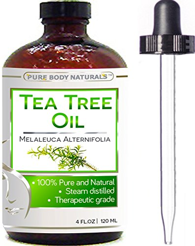 Pure Body Naturals - Tea Tree Essential Oil Pure 4 Oz Premium Melaleuca Therapeutic Grade From Australia, Use With Soap & Shampoo, Face & Body Wash, Treatment for Acne, Lice & Many Skin Conditions