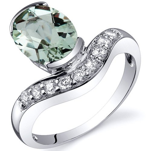Revoni Channel Set 1.75 carats Green Amethyst Diamond CZ Ring in Sterling Silver