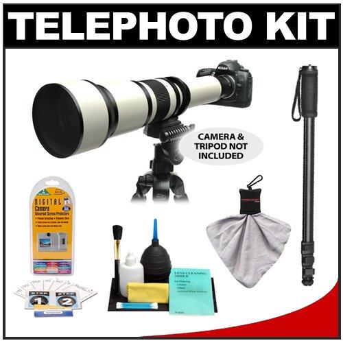 Rokinon 650-1300mm f/8-16 Telephoto Zoom Lens with 2x Teleconverter (=650-2600mm) + Monopod Kit for Nikon D40, D60, D90, D300, D300s, D3, D3s, D3x, D7000, D3000, D3100 & D5000 Digital SLR Cameras