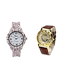 COSMIC COMBO WATCH- COLORFUL STRAP ANALOG WATCH FOR WOMEN AND BROWN ANALOG SKELETON WATCH FOR MEN - B01CGEK0HA
