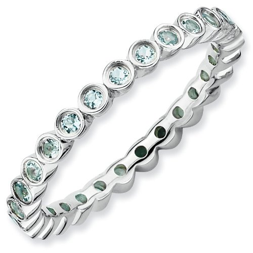 Sterling Silver Stackable Expressions Aquamarine Ring - Size 5 - JewelryWeb