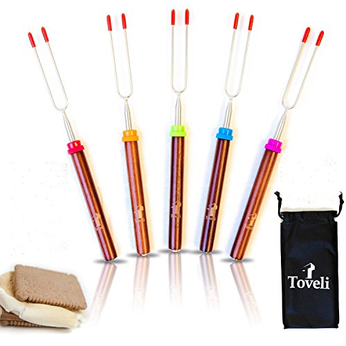 Marshmallow Roasting Sticks Set of 5 Telescoping Rotating Smores Skewers, Delicates 32 Inch Long Hot Dog Fork Kids Camping Campfire Fire Pit Accessories with Premium Bamboo Handles, FREE Pouch & Ebook