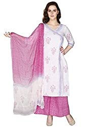Pinkshink White Cotton Salwar Kameez Dress Material k100