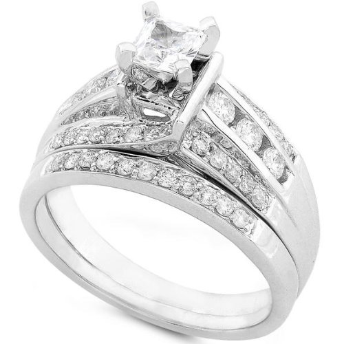 1.00ctw Princess & Round Diamond Wedding Rings Set in 14Kt White Gold (HI/I1) - Size 5