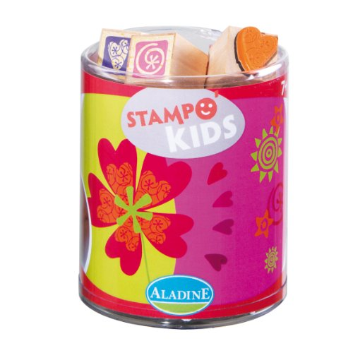 Aladine Happiness Themed Rubber Stamps, Set of 15 Plus 1 Ink Pad - 1