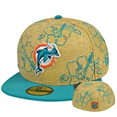NFL New Era 5950 59Fifty Miami Dolphins Straw Fit Floral Fitted Flower Hat Cap by New Era