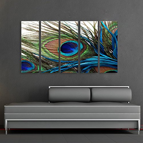"CanvasCEO Peacock Feather 5 Panel Set Wall Art Decor Canvas Framed Ready to Hang Print Fiberboard (28x10x1"" (70x25x2.5cm) x5 Panels)"