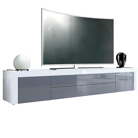 TV Board Lowboard La Paz, Korpus in Weiß Hochglanz / Front in Grau Hochglanz mit Rahmen in Weiß Hochglanz