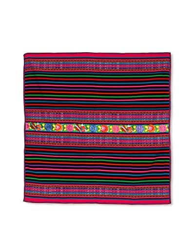 Uptown Down Found Bright Woven Throw, Pink/Black
