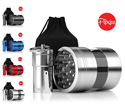 Weed, Herb and Tobacco Grinder - 4 Piece Aluminum Spice Crusher with Carrying Bag & Container - 3.25