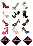 15 Stand Up Premium Edible Wafer Paper Shoeaholic Shoes & High Heels Cake Toppers Decorations