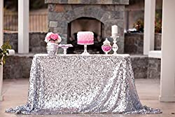 New Sale!~50''x72''silver Sequin Tablecloth, Wedding Table Cloth, Sparkle Sequin Linens, Glitz, Sequin Cake Tablecloth, Sequin Tablecloth (50''x72'')