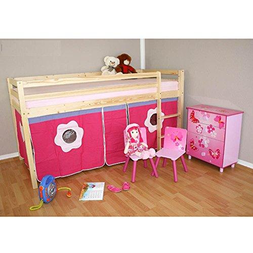 Lit enfant mezzanine en pin +rideau rouge 90x200 cm