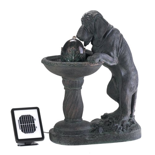 Thirsty Dog Faux Bronze Garden Solar Water Fountain