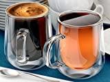 Coffee or Tea mugs, 10oz or 300ml, Double walled glass, Set of 2, Insulated, cappuccino, latte, espresso glasses