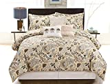 COMPASS Oxford 6 Piece Luxurious Comforter Set, King, Taupe