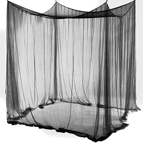 Yahee-Betthimmel-Moskitonetz-Fliegennetz-Mckenschutz-fr-Einzel-oder-Doppelbetten-Schwarz