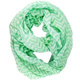 niceeshop(TM) Soft Warp Knitting Voile Chevron Sheer Infinity Scarf (Green)