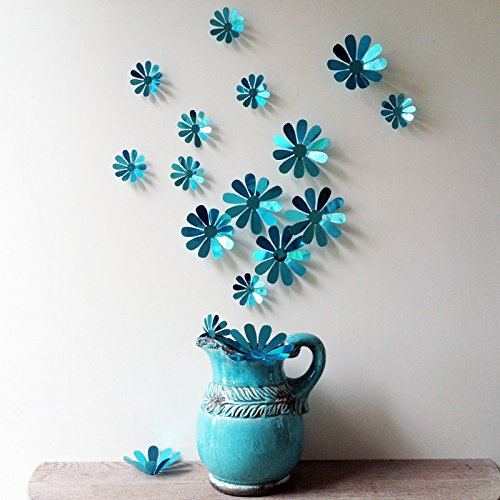 WALL'S MATTER 3D Flower Wall Sticker Three-dimensional 12 Pcs Wall Decal Art Home Decoration Removable Sticker Mural DIY Decor as Mirror