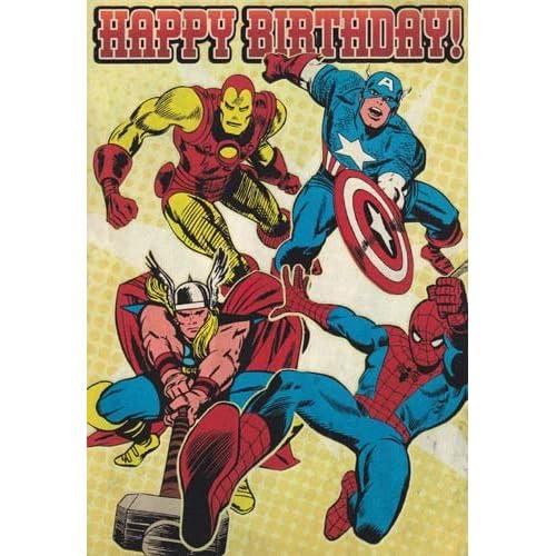 "Amazon.com: Greeting Card Birthday Marvel Superheroes ""Happy Birthday"""