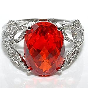 Red Quartz Ring and Real diamonds White Gold 0.36ct White Gold 14mm Vintage 10K