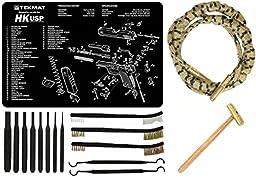 Otis Ripcord 9mm .380 .38 357 Mag Bore Barrel Cleaner + Ultimate Arms Gear Cleaning Gun Mat Heckler & Koch H&K HK USP Pistol Handgun + 8pc Pin Punch Tool + Brass Hammer + 3 Brushes & 2 Picks