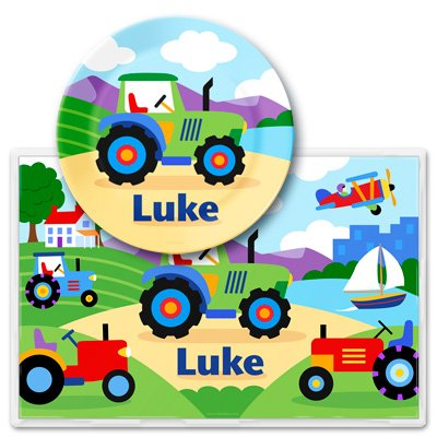 Olive Kids Trains, Planes & Trucks Personalized Meal Time Plate Set front-910591