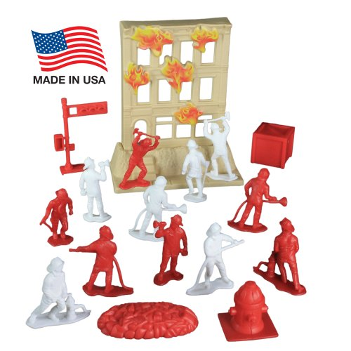 Fire Rescue Team Playset: 33 Piece Bucket with 2.5 inch Firemen Figures, Accessories, and Burning Building ~ Made in USA !