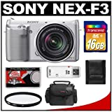 Sony Alpha NEX-F3 Digital Camera Body & E 18-55mm OSS Lens (Silver) with 16GB Card + Case + Filter + Accessory Kit