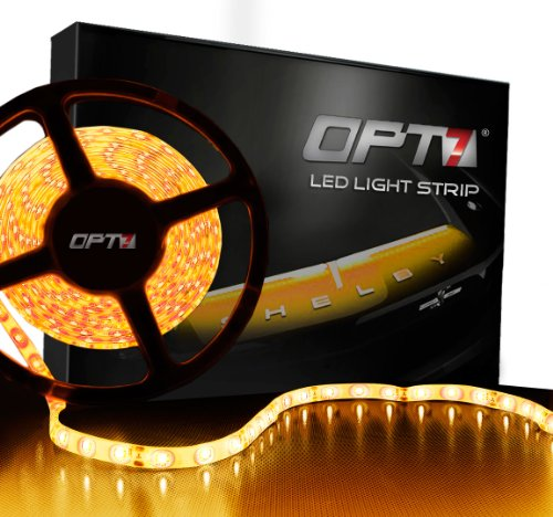 Opt7 Automotive Led Light Strip & Connectors - 300-Advanced Bright Smds - 20 Led Strips - Amber Yellow