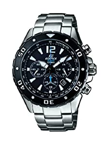 Casio Edifice Men's Quartz Watch with Black Dial Analogue Display and Silver Stainless Steel Bracelet EFM-500SBD-1AVER