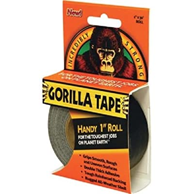 "Gorilla Tape- Handy 1"" Inch Roll (30'), Ideal size for backpacks, toolboxes,"