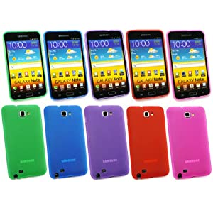 EMARTBUY SAMSUNG GALAXY NOTE BUNDLE PACK OF 5 FROSTED PATTERN GEL SKIN COVER/CASE PURPLE, HOT PINK, GREEN, ORANGE & BLUE