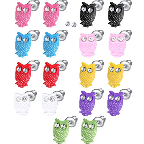 IBLUE 9 Pairs Stainless Steel Owl Color Stud Earrings Set (Stainless Steel Owl Ring compare prices)