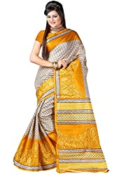 RGR Enterprice Woman's Bhagalpuri Designer Saree (YELLOW FLOWER_Multi-Coloured_Free Size)