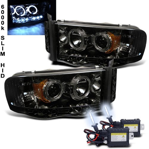 Eautolight Dodge Ram 1500 2500 3500 Halo LED Projector Headlights Smoke with 6000k Slim Xenon HID Kit Pair New
