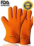 Homdox® BBQ Grill Gloves,Silicone Oven Gloves,BBQ Grill Mitts, Oven & Baking Gloves & Kitchen Cooking Gloves (Orange)