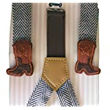Cowboy Boot Adjustable Suspenders, Infant Toddler Boys, Brown Herringbone