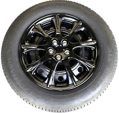 "1 Piece 14"" Abs Hubcap Fits 14"" Rim Ice Black Wheel Cover Hub Cap"